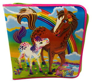 Lisa Frank Zipper Padded Binder Rainbow Horses Hot Pink Vintage HTF 1990's EUC