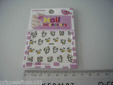 Nail tip Art stickers transfer water decals Happy Smiling Black Cat Gold Jh36