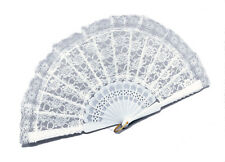 LADIES FAN WHITE LACE FANSY DRESS COSTUME ACCESSORY