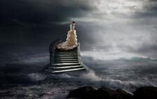 Encadrée Imprimer-Fallen mariée debout sur l'escalier menant au paradis (Gothique photo)