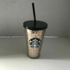 Starbucks 2018 Holiday Glitter Stars Gold and Black Cup Tumbler 16oz