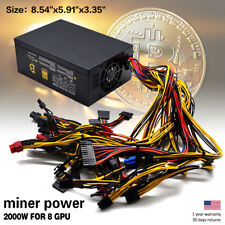 Coin Miner Rig Mining Server Power Supply 2000W 110V PGS For 8 GPU Ethereum ETH
