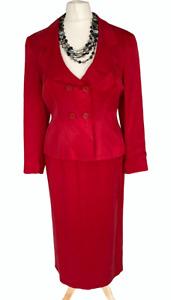 PRINCIPLES PETITE Red Smart Skirt Suit Sz 12 UK Special Occasion vintage Y2K