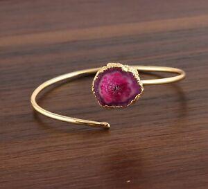 Unique Genuine Pink Solar Quartz Yellow Gold Plated Adjustable Bangle Bracelet