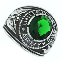 Emerald Green Stone US Army Military Silver Stainless Steel Crown Top Mens Ring