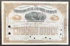 COLORADO FUEL & IRON CO Stock 1909 Pueblo, CO Iron Mines Steel Mills Rockefeller