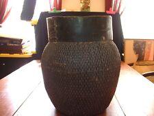 Wonderful Antique African Woven Storage Basket With Wooden Collar