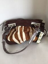 NWT B. Makowsky Brown Leather Cream /Brown Cow Hair Double Handle Shoulder Bag
