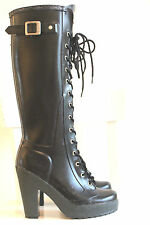 "Hunter Lapins Black 4"" Heel Lace Up Rubber Rain Boots US6 EU37 EUC Gummistiefel*"