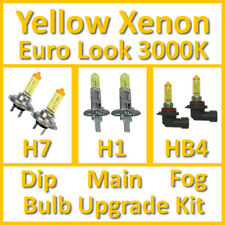 Warm White 3000K Yellow Xenon Headlight Bulb Set Main Dip Fog H7 H1 HB4 Kit