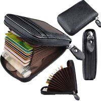 Men's Leather Credit Card Wallet Holder RFID Blocking Zipper Thin Pocket