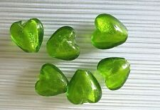 6 glass silver foil heart beads, lime