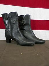 ECCO Boots Heeled Slip-on Black Leather Side Zippers Women's Size 6