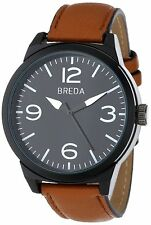 Breda 16880-Brown Mens Stephen Watch 8144 Brown Leather Strap Buckle Closure new