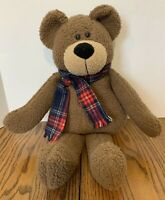 """Russ Berrie and Co Bellini Teddy Bear Brown Plaid Scarf Collectable 19 1/2"""""""
