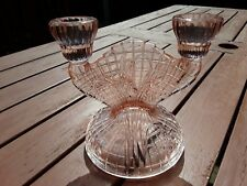 Vintage pink glass double candle holder flower pattern