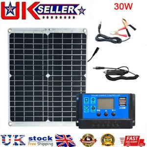 30Watt 30W Solar Panel Kit 12Volt Battery Charger RV Travel Trailer Camper Van