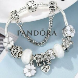 Authentic Pandora Snake Chain Bracelet Silver with Love Flower European Charms