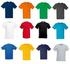 3 Or 5 Pack Fruit of the Loom Men's Cotton Value-weight V-Neck T-Shirt Plain Top
