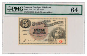 SWEDEN banknote 5 Kronor 1952 PMG MS 64 Choice Uncirculated