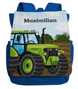 kleiner Kinderrucksack für Jungen   Traktor Bulldog in grün & blau   mit Namen