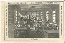 Gravure chocolat Suchard Neufchatel Suisse moulage usine ouvrier fabrique Rare