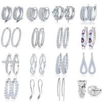 Elegant Women Crystal CZ Stud Hoop Huggie Loop Earrings Silver Plated Jewelry