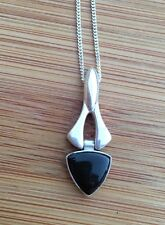 Rare Whitby Jet Fancy Pendant With Hinged Triangular Drop Solid Silver J499