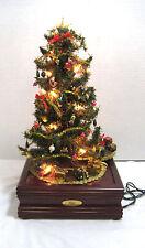 Sankyo Musical Christmas Tree Wood Base Lights Up Animatron Merry Christmas