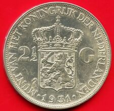 1931 Netherlands 2 1/2 Gulden Silver Coin (25 Grams .720)