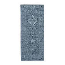 """2'9""""x7'10"""" Gray Broken Erased Design Silk With Textured Wool Runner Rug R47270"""