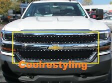 Fit Chevy Silverado 1500 2016 17 2018 Black Wire mesh grille with Rivets cutout