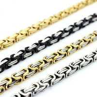 """18-40""""MEN Stainless Steel 6/8mm Silver/Gold/Black Byzantine Box Chain Necklace"""