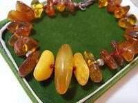 """Vintage Baltic Amber Egg Yolk Honey Golden Knotted Bead 8"""" Bracelet Sterling 925"""