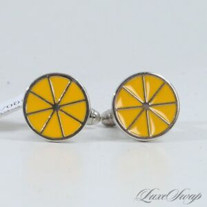 NWT Anonymous Silver Toggle Cufflinks Goldenrod Yellow Fresh Lemon Slice NR #7