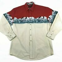 Vintage Roper Western Shirt Pearl Snap XL Cowboy Rodeo EUC Eagles Red White