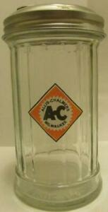 Charming Large Allis Chalmers Glass Sugar Shaker