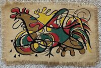 Abstract Vintage 50s Bird Rooster Cock Textile Mat Mid Century Modern Atomic Era