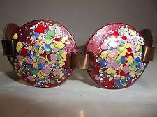 "Vintage CORO Pegasus ENAMELED Copper BRACELET Red Multi Color SPLATTER 7.5"""