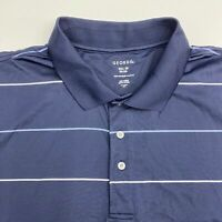 George Polo Shirt Men's Size 3XL 54-56 Short Sleeve Navy Blue Striped Casual