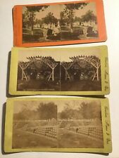 Boston MA Stereoview Card lot Mount Auburn Cemetery Charlestown Navy Yard Rustic