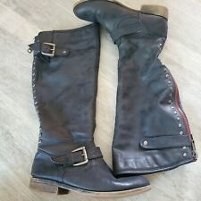 """Madden Girl Cactuss Boots 7M zipper closure 1"""" heel red and blue buckle accents"""