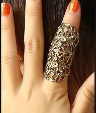 SILVER MIDI KNUCKLE RING ARMOUR RING FULL FINGER RING DIAMANTE