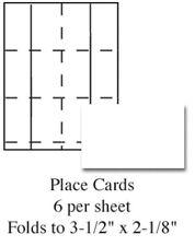 Plain White Printable Wedding Place Cards 60/pk