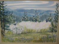 "Pat Irish 1974 Original Watercolor Landscape, Signed & Framed, 29"" x 22"" (Image)"