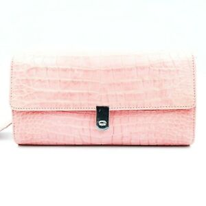 New Real Pink Crocodile Leather Belly Skin Women Chain Strap Clutch Wallet Purse
