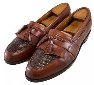 Allen Edmonds Cody Men's Brown Leather Weave Tassel Loafer Size Is 10.5 D