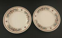 Vintage Sterling Wellsville Ohio China Restaurant Bread Plates Floral Basket (2)