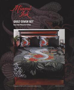 Miami Ink Duvet  Doona Quilt Cover Set  Cobra Tattoo  Single