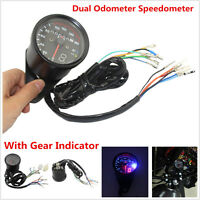 Universal Motorcycle Dual Odometer Speedometer Gauge LED Backlight Signal KM/H